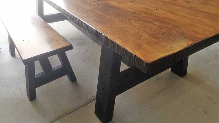 Farmhouse Table with matching bench.