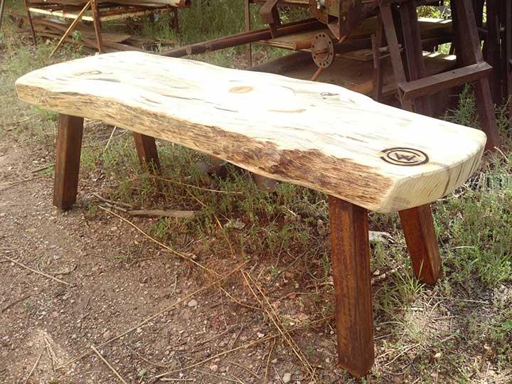 Rusty Leg Log Bench