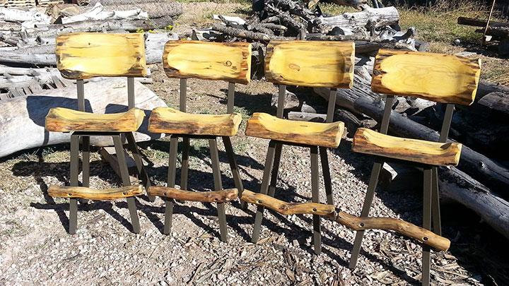 Four matching Log Bar Chairs