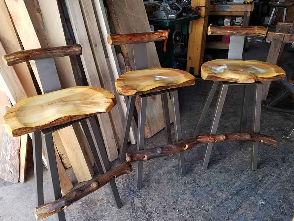 Three Matching Lumbar Log Bar-stools