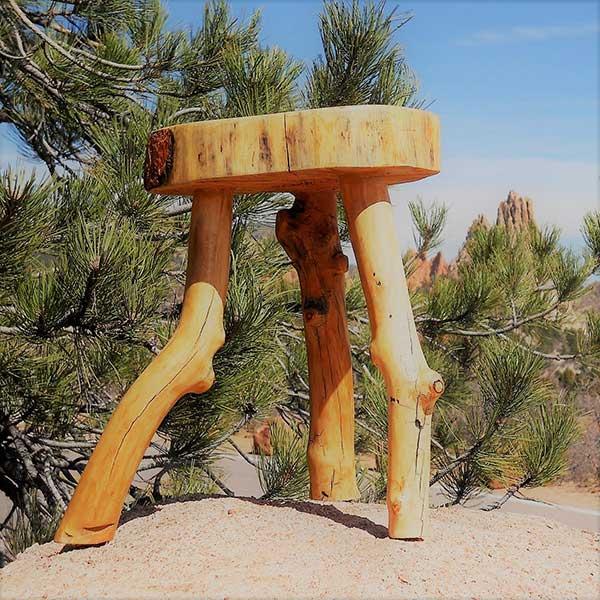 three legged log stool